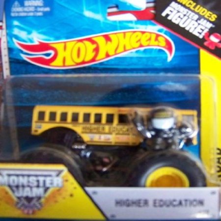 (Higher Education School Bus #19 Hot Wheels Off-Road Monster Jam 2014 Includes Monster Truck Jam Mini Figure 1:64 Scale)