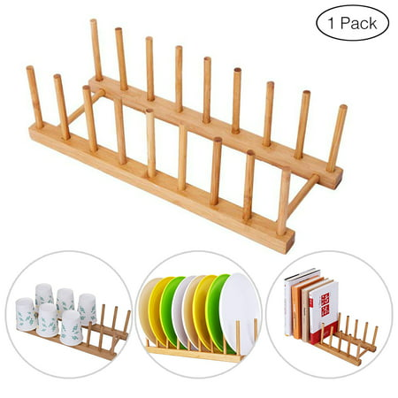 Bamboo Dish Drying Rack, Plate Drainer Rack Storage Lid Holder, Stand Kitchen Cabinet Organizer for Dish,Plate,Bowl,Cup,Pot Lid, Book(Wood Color) ()