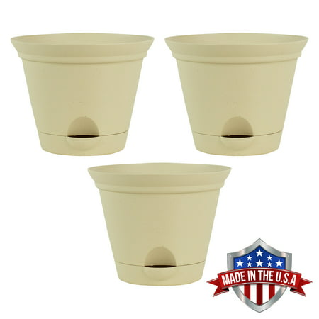 3 Pack 9.5 Inch Latte Quartz Plastic Self Watering Flare Flower Pot or Garden Planter