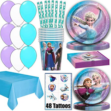 Frozen Party Supplies for 16 - Dinner Plates, Cake Plates, Napkins, Cups, Straws, Tablecover, Balloons, Tattoos - Disney Frozen Theme Birthday Pack Disposable tableware, decorations, Favors