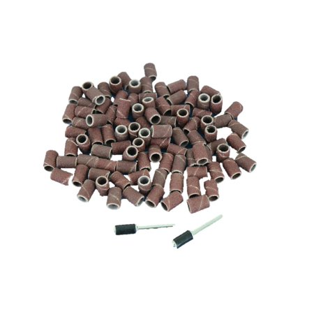 TEMO 100 PC 1/4 inch (6mm) Sand Drum Grit 60 Coarse with 2 pc 1/8 inch (3mm) Mandrel fit Dremel and Compatible Rotary Tools