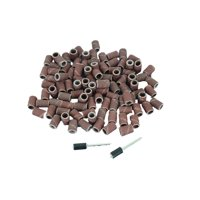 TEMO 100 pc 1/4 Inch (6 mm) Sand Drum Grit 60 Coarse with 2 pc 1/8 Inch (3 mm) Mandrel for Dremel and Compatible Rotary Tools