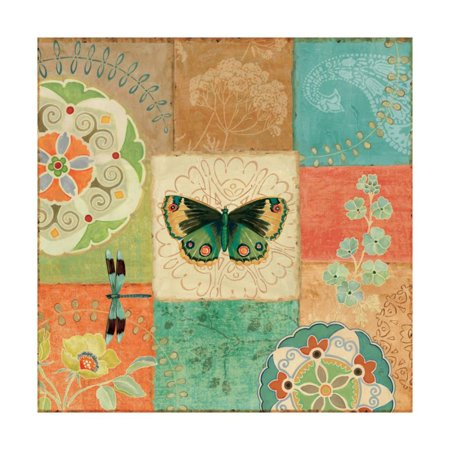Folk Floral III Center Butterfly Print Wall Art By Daphne Brissonnet