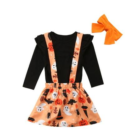 Halloween Kids Baby Girls Long Sleeve Black T shirt Tops Overalls Skirts Headband 2019 Festival Outfits Children's