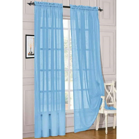 2pc Light Blue Solid Sheer Voile Window Curtain Set, Two (2) Rod Pocket Panels 55