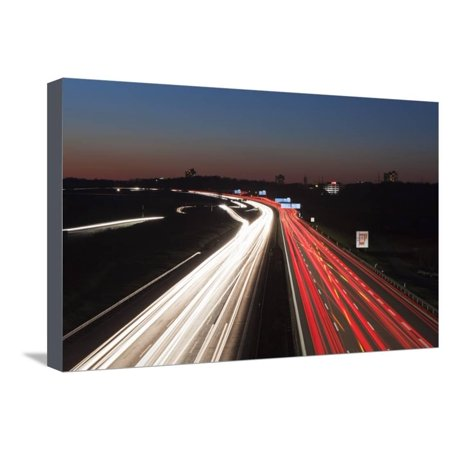 Autobahn Apparel - Rush Hour on the A8 Autobahn, Stuttgart, Baden Wurttemberg, Germany, Europe Stretched Canvas Print Wall Art By Markus Lange