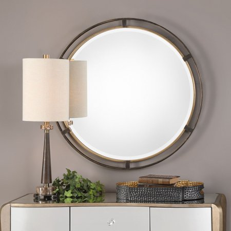 Uttermost Carrizo Bronze Round Wall Mirror - 36.25W x 36.25H in.
