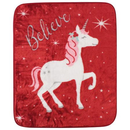 Hudson Baby High Pile Blanket, Christmas Unicorn, One Size