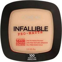 L'Oreal Paris Infallible Pro-Matte Powder, Lightweight, Porcelain, 0.31 oz.