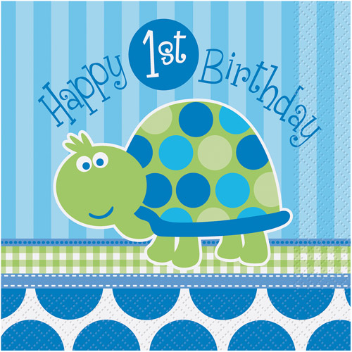 Turtle 1st Birthday Party Lunch Napkins, 16ct