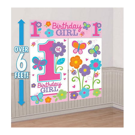 SWEET BABY GIRLS 1ST 1 BIRTHDAY SCENE SETTER Wall Decoration Party Backdrop 05