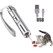 AMGRA Laser Pointer for Cats USB Rechargeable, Cat Dog Interactive Lazer Toy, Pet Training Exercise Chaser Tool, 3 Mode - Red Light LED Flashlight UV Light with A Squeaky Mouse