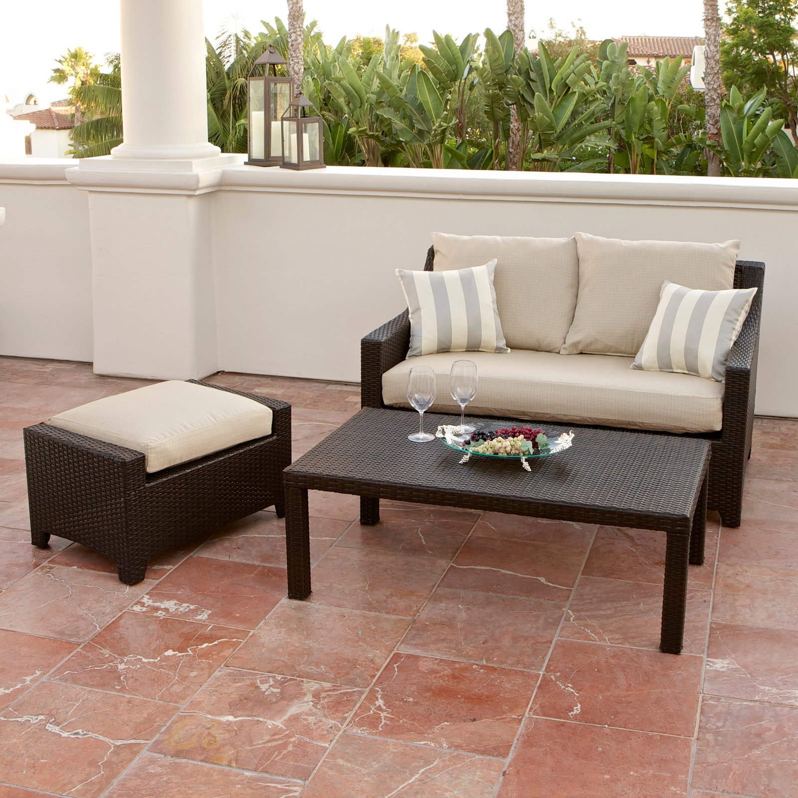 RST Outdoor Slate Loveseat and Ottoman with Coffee Table