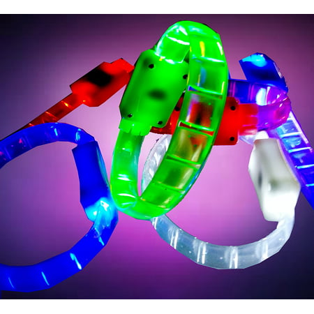 LED Light up Bracelet Flashing Blinking Color Glow Wristband for Party Disco Bar Sport Events 4 Pcs (4 Colors), Powered by 2 button cells.., By Fashion - Led Glow Bracelets