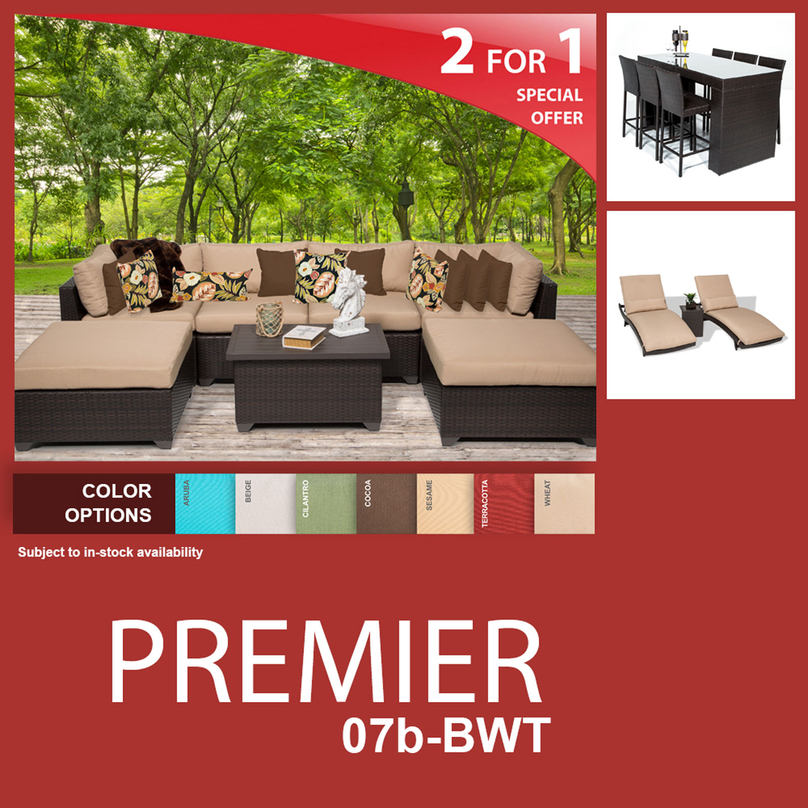 Premier 17 Piece Outdoor Wicker Patio Furniture Package PREMIER-07b-BWT