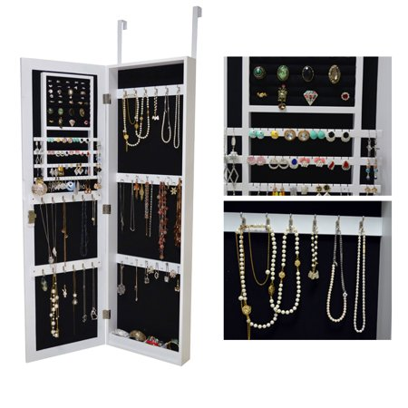 Organizedlife White Mirrored Jewelry Cabinet Armoire Door Locking Wall Mount Makeup Storage