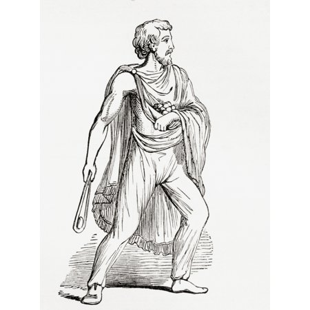 A Roman slinger after a figure on the Column of Antoninus in Rome From The Imperial Bible Dictionary published 1889 Stretched Canvas - Ken Welsh  Design Pics (12 x 16)](Roman Colums)