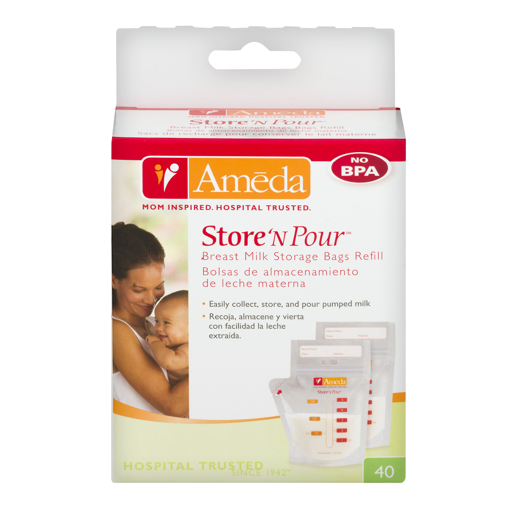 Ameda Store 'N Pour Breast Milk Storage Bags Refill - 40 CT40.0 CT