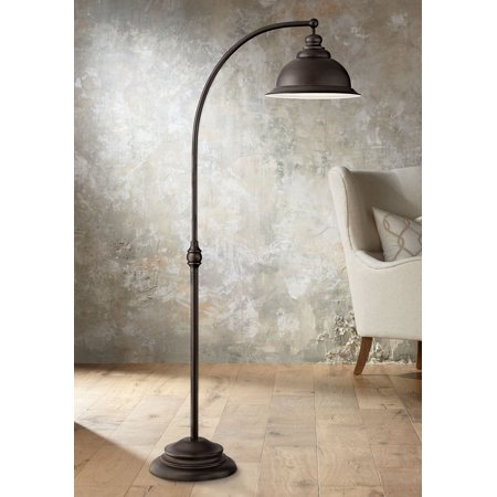 Swatch Irony Lady - Franklin Iron Works Farmhouse Arc Floor Lamp Dark Bronze Metal Shade Step Switch for Living Room Reading Bedroom Office