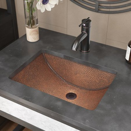 - Ren  Single Bowl Copper Rectangular Undermount Bathroom Sink With Drain Assembly
