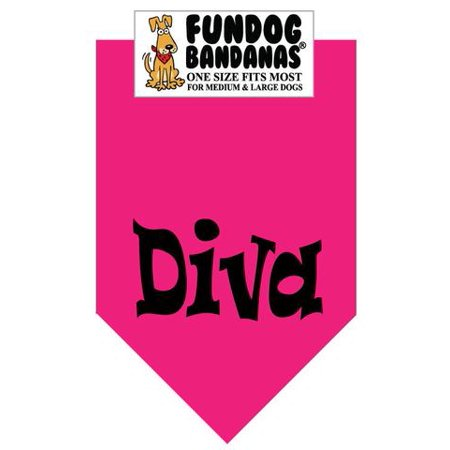 Fun Dog Bandana - Diva - One Size Fits Most for Med to Lg Dogs, hot pink pet (Diva Dog Boutique)