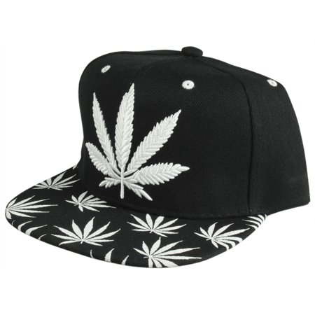 Enimay Hemp Weed Marijuana 420 Ganja Stoner Leaf Adjustable Ball Cap Hat Leaf White](Ball Cap With Lights)