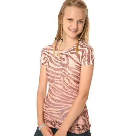 Kavio Girls 7-16 BurnOut Zebra Sblmtn Crw Neck S/S, Style GAP0014