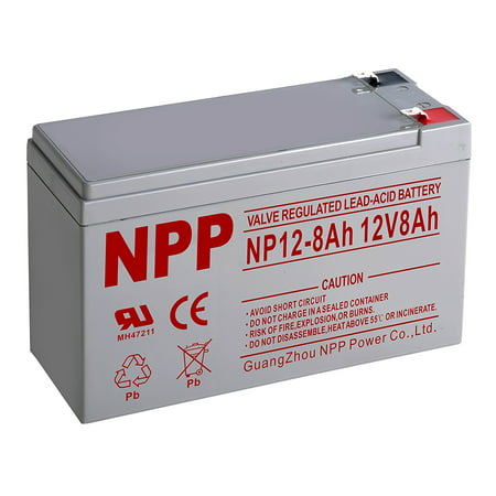 NPP 12V 8 Amp NP12-8Ah F2 Rechargeable Sealed Lead Acid Battery with F2 style Terminals