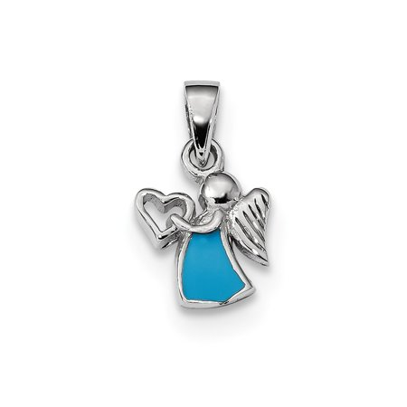 (Mireval Sterling Silver Anti-Tarnish Treated Enameled Angel with Heart Pendant)