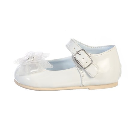 Little Girl White Joyce Flower Bow Strap Dress Shoes 4-6 - Navy Blue Flower Girl Shoes