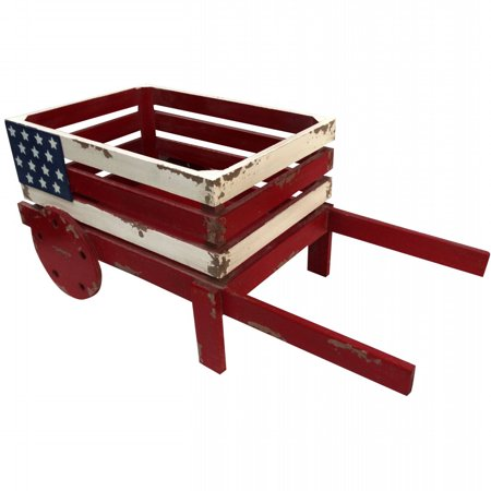 Alpine American Flag Wooden Wheel Barrel Planter, 9 Inch (Alpine Planter)