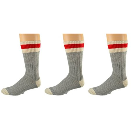 - Sierra Socks 3 Pair Pack Wool Striped Boot Work Men's Socks M6400 (Sock Size 10-13, Shoe Size 9-13, Grey)