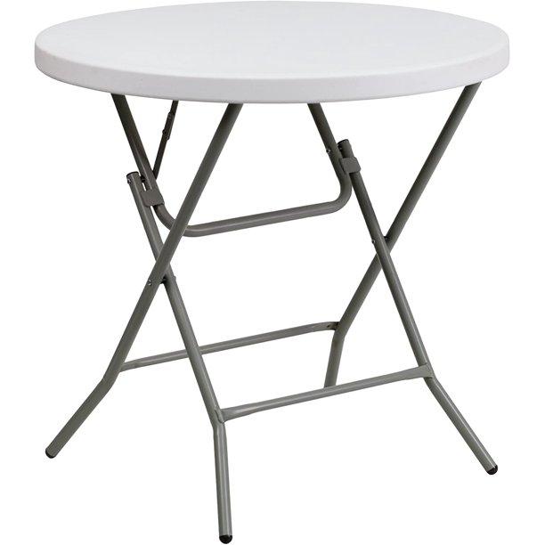 Flash Furniture Granite 32 Inch Round Folding Table White Walmart Com Walmart Com