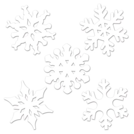 Club Pack of 24 Winter Wonderland Themed White Mini Snowflake Cutout Decorations 4.5