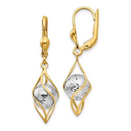 Solid 14k Gold Two-tone Polished Diamond-Cut Dangle Leverback Earrings (9mm x 34mm)