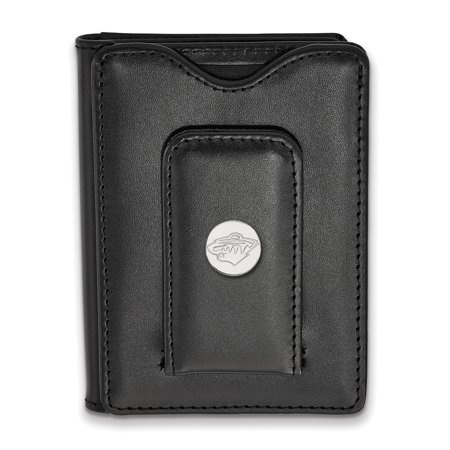 Minnesota Wild Leather - Lex & Lu LogoArt Sterling Silver NHL Minnesota Wild Black Leather Money Clip Wallet