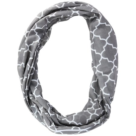 - Women's Pattern Infinity Loop Scarf with Hidden Zipper Pocket