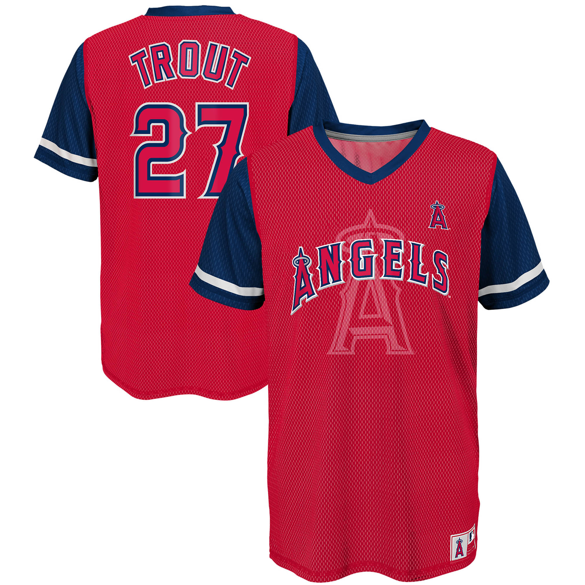 Mike Trout Los Angeles Angels Majestic Youth Play Hard Player V-Neck Jersey T-Shirt - Red/Navy