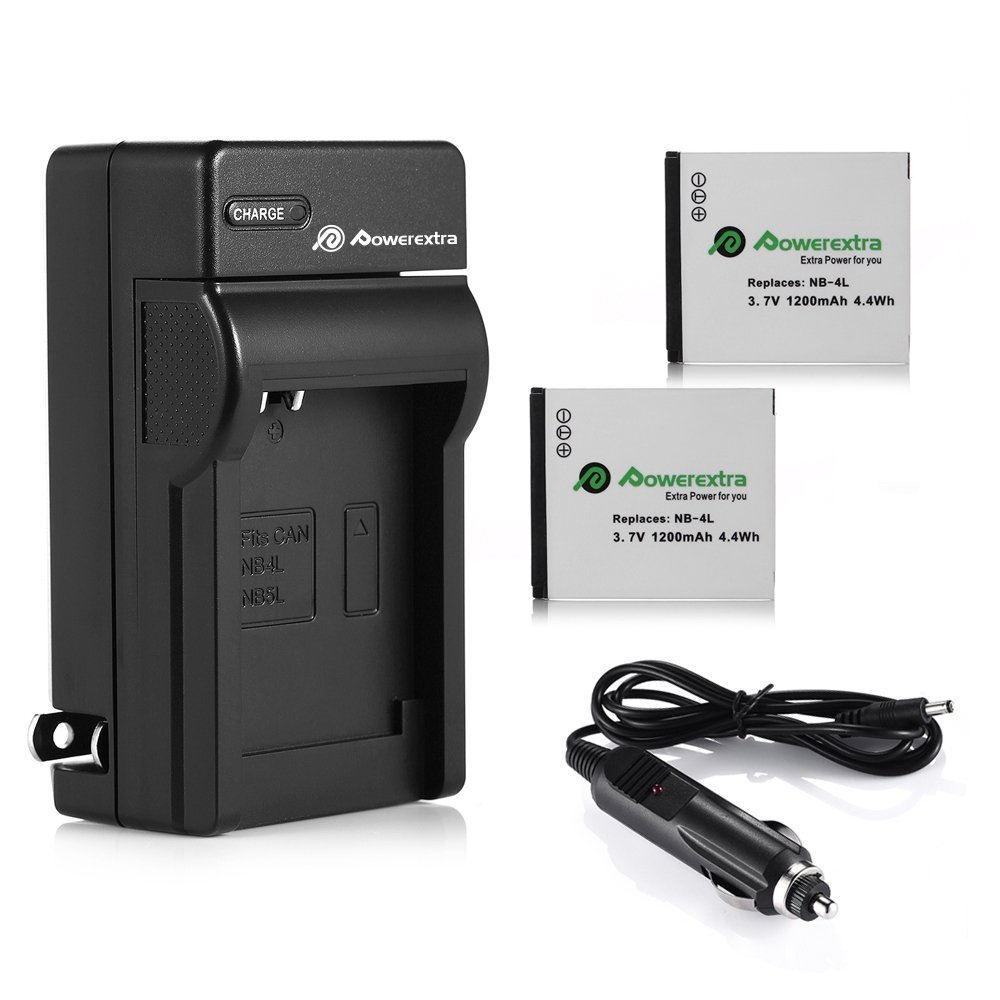 Powerextra 2-Pack 1200mAh 3.7v NB-4L Replacement Battery + Battery Charger for Canon CB-2LV / Canon ELPH 330 HS, VIXIA mini, ELPH 100 HS, Powershot SD1400 IS, SD750, SD1000, SD1100 IS Digital Camera