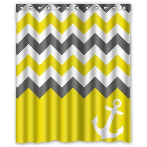 HelloDecor White Grey Yellow Chevron With Anchor Shower Curtain Polyester Fabric Bathroom Decorative Curtain Size 60x72 Inches