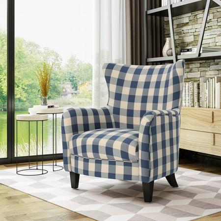 Noble House Siena Fabric Club Chair, Blue Checkerboard, Dark Brown