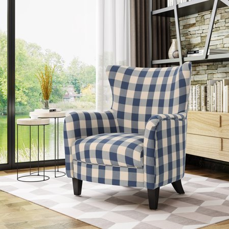 Candyland Plaid Cloud Chair (Noble House Siena Fabric Club Chair, Blue Checkerboard, Dark Brown )