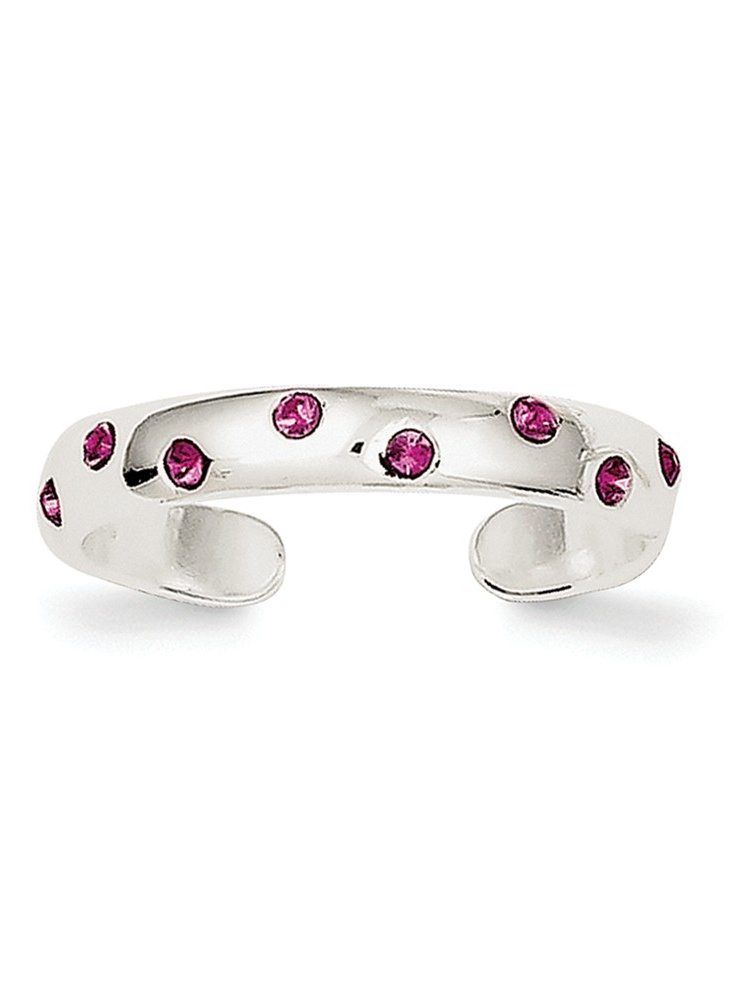 Sterling Silver Solid Polished Pink Cubic Zirconia Toe Ring