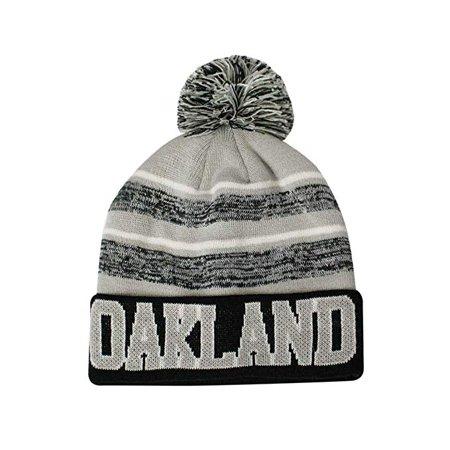 Oakland Men's Blended Stripe Winter Knit Pom Beanie Hat (Black/Gray) Special Blend Big Stripe Hat