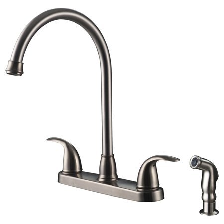 Ultra Faucets Uf21043 2 Handle Stainless Steel Kitchen Faucet With