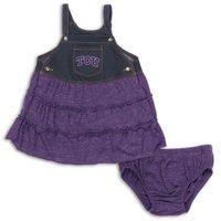 TCU Horned Frogs Colosseum Girls Infant Sandlot Overall Dress & Bloomer Set - Purple/Denim