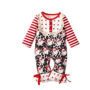Puloru Toddler Christmas Jumpsuit, Santa Print Longs Sleeves Rompers
