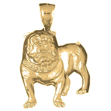 18K Yellow Gold Bulldog Pendant   64 Mm