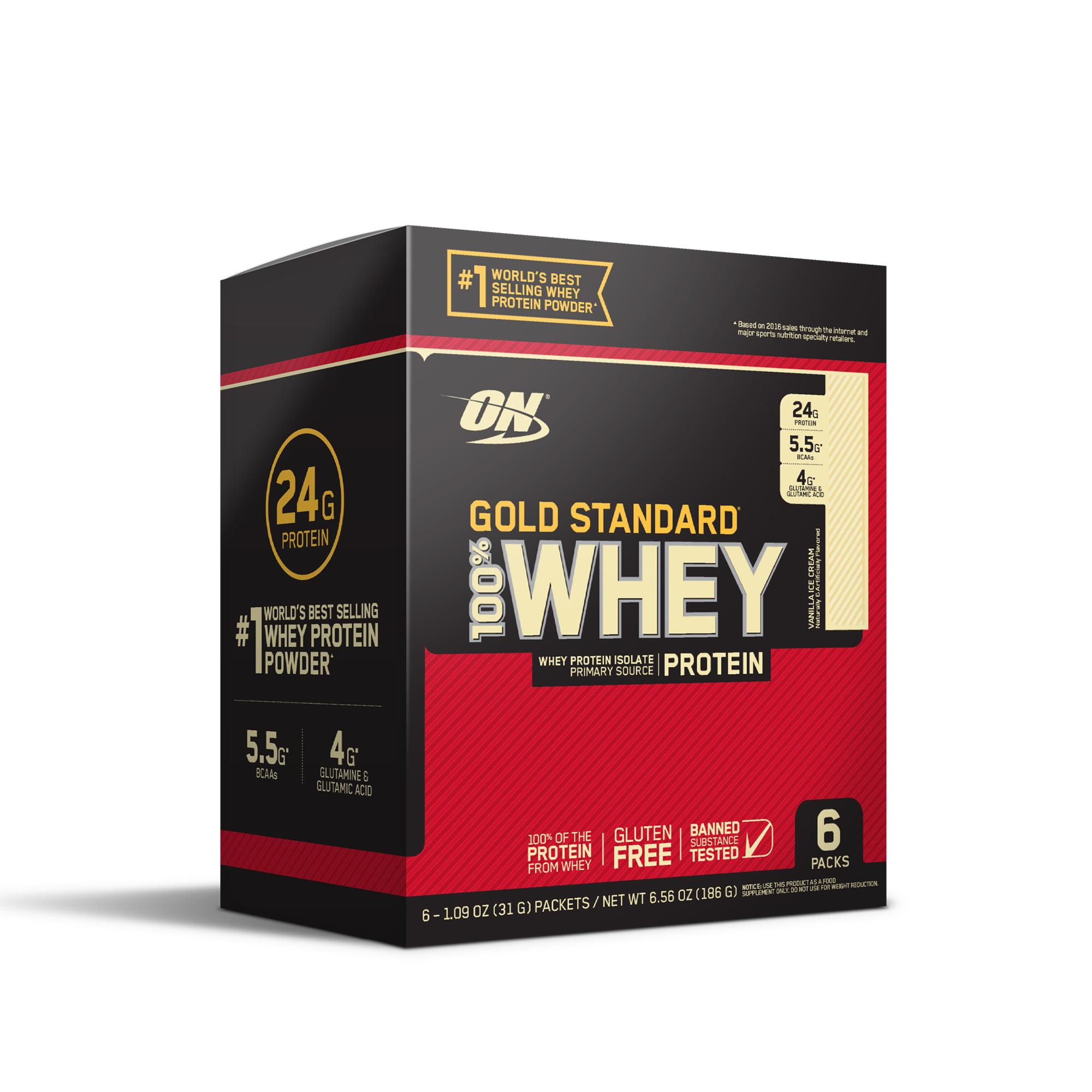 Optimum Nutrition Gold Standard 100% Whey Protein Powder, Vanilla Ice Cream, 6 servings