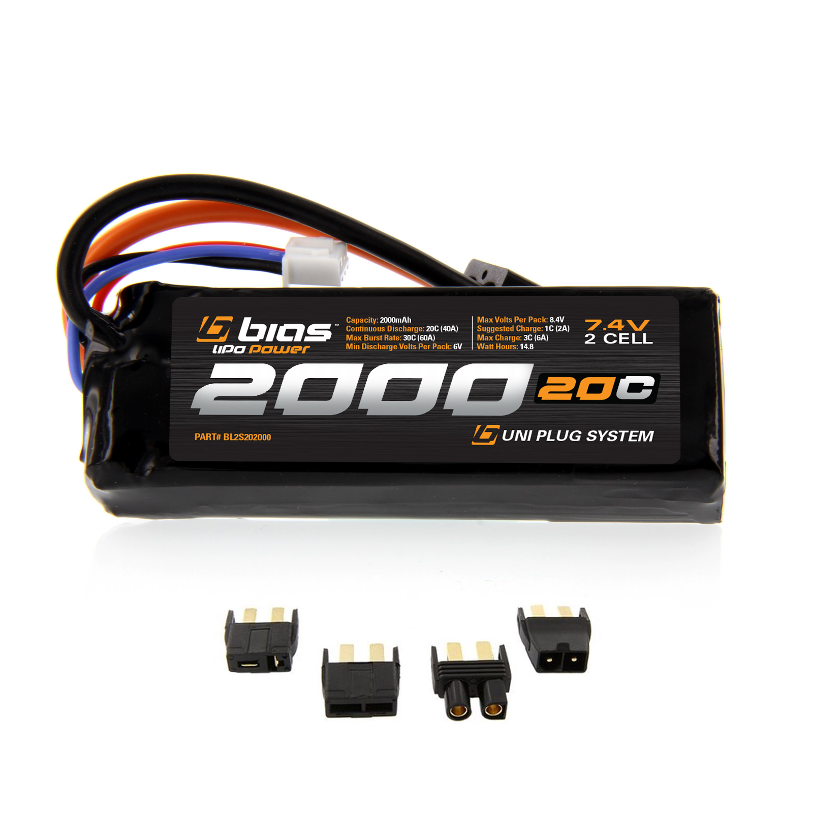 Bias LiPo Battery for Traxxas 1/16 Slash 4x4 20C 2S 2000mAh 7.4V LiPo (EC3/Deans/Traxxas/Tamiya Plug) for RC Car, Truck, Buggy, Boat, Heli, and Drone